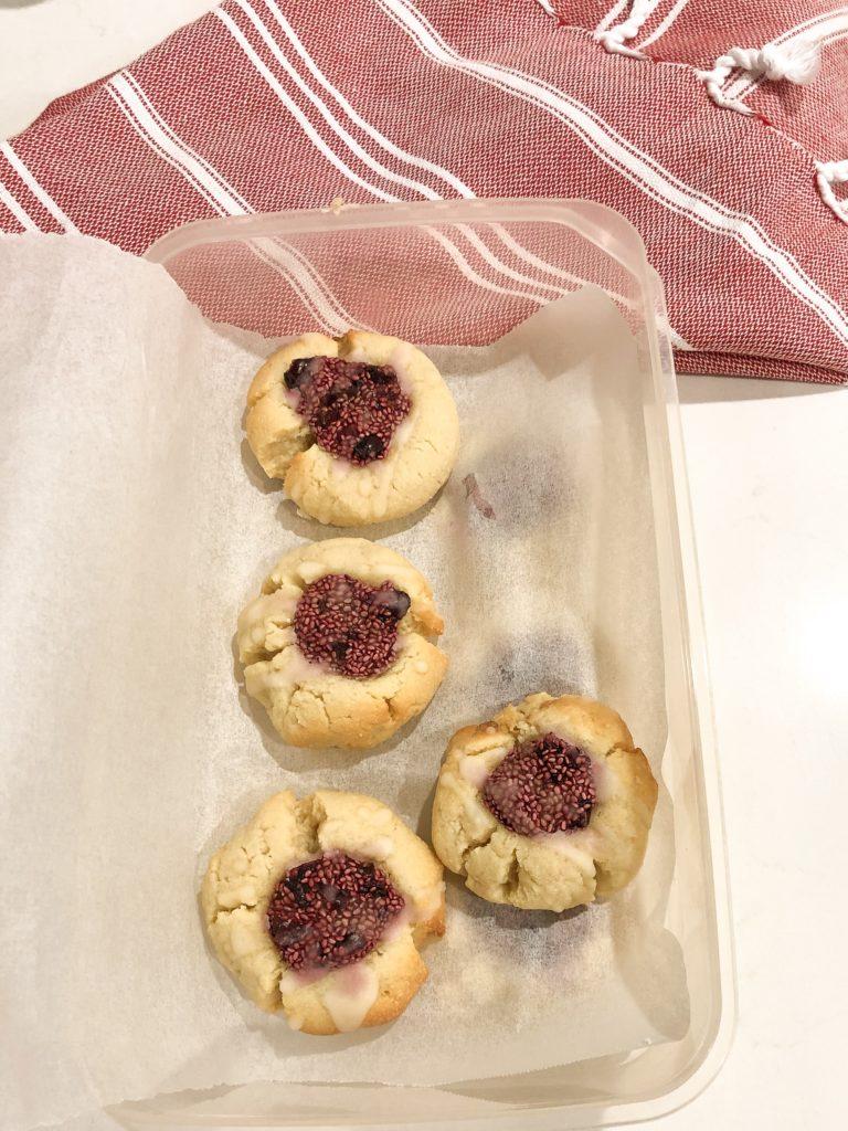 Cherry Almond Thumbprint Cookies with Chia Cherry Jam Keto