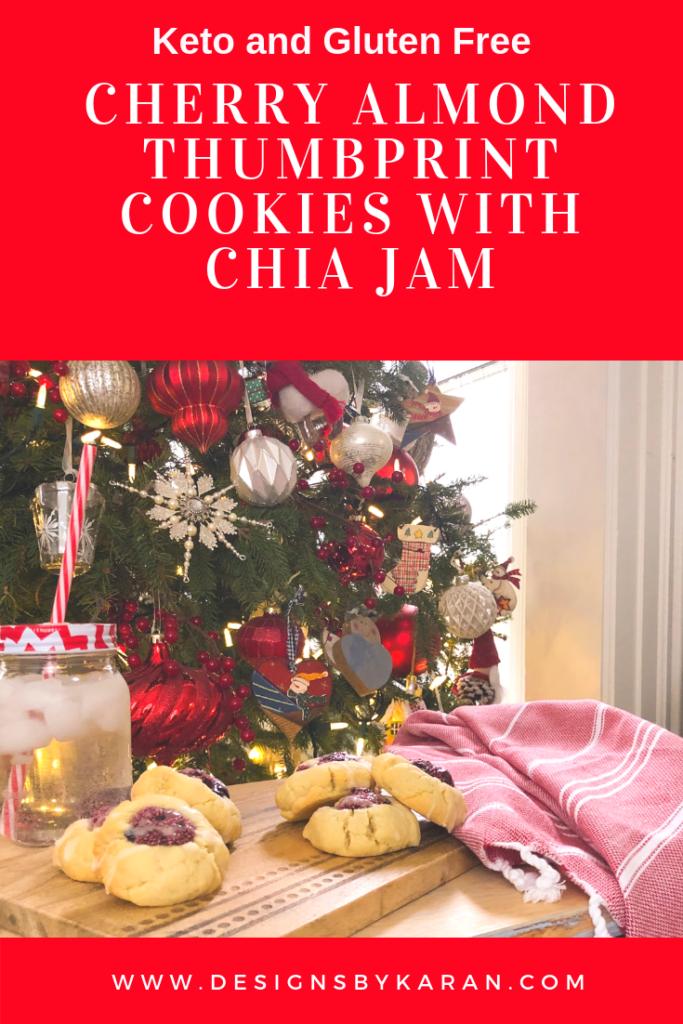 Cherry ALmond Thumbprint cookies with Chia Jam - keto and gluten free
